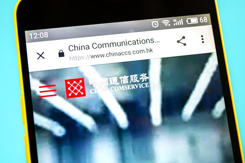 Berdyansk, Украина - 12-ое мая 2019: Иллюстративная передовица домашней страницы вебсайта служб связи Китая Связи Китая стоковая фотография