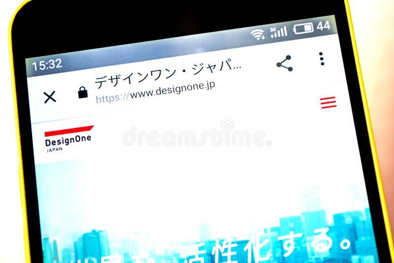 Berdyansk, Украина - 5-ое мая 2019: Иллюстративная передовица домашней страницы вебсайта DesignOne Японии Логотип DesignOne Япони стоковые фото