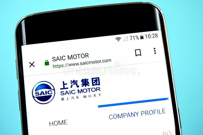 Berdyansk, de Oekraïne - 1 Juni 2019: SAIC-de homepage van de Motorwebsite SAIC-Motorembleem zichtbaar op het telefoonscherm royalty-vrije stock foto