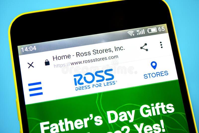 Berdyansk, de Oekraïne - 29 Mei 2019: Ross Stores-websitehomepage Ross Stores-embleem zichtbaar op het telefoonscherm royalty-vrije stock foto