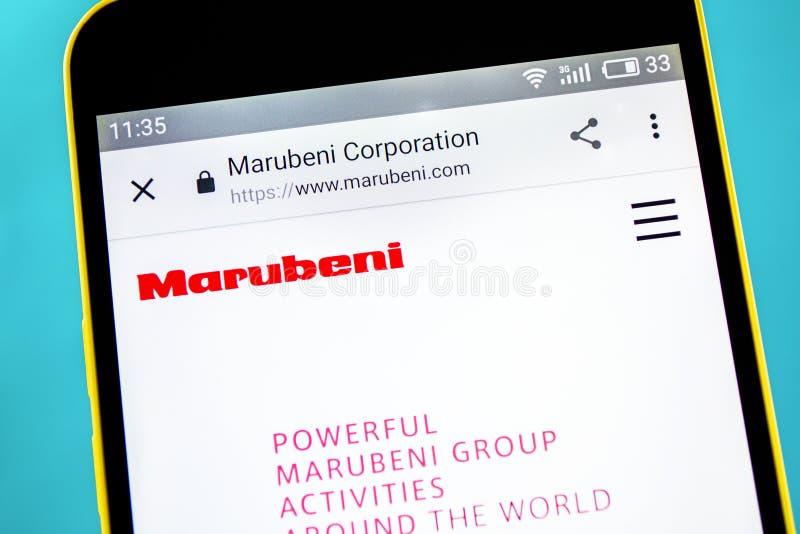 Berdyansk, de Oekra?ne - 10 Mei 2019: Illustratief Hoofdartikel van Marubeni-websitehomepage Marubeniembleem zichtbaar op het tel royalty-vrije stock afbeeldingen