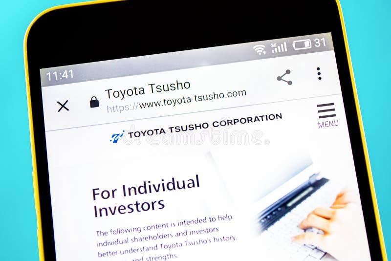 Berdyansk, de Oekra?ne - 10 Mei 2019: Illustratief Hoofdartikel van de websitehomepage van Toyota Tsusho Het embleem van Toyota T royalty-vrije stock fotografie