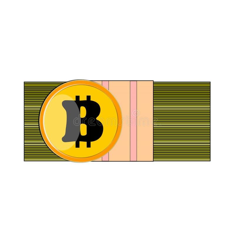 Berdyansk, Ucraina, 03/22/2018 di pacchetto di A delle banconote in dollari dei contanti, davanti ad una moneta gialla Bitcoin fotografie stock