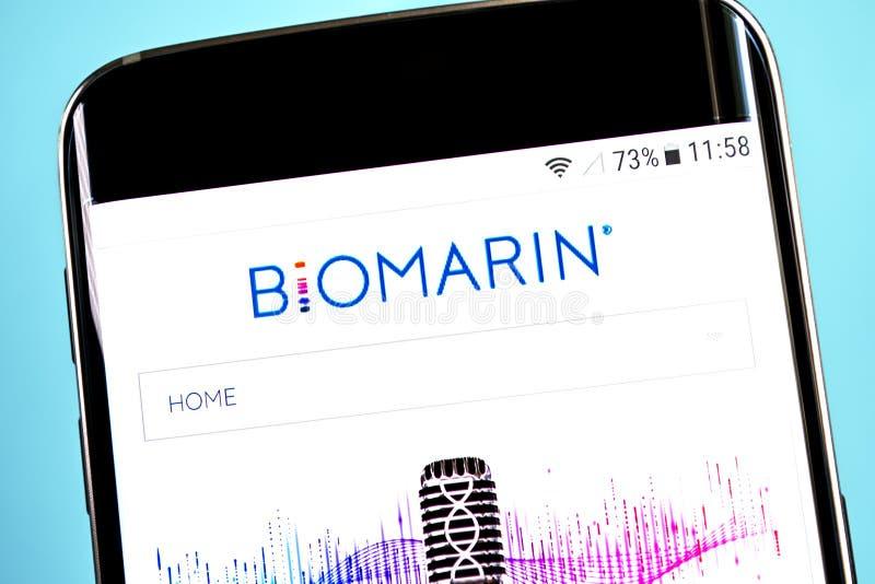 Berdyansk, Ucraina - 4 giugno 2019: Homepage farmaceutico del sito Web di BioMarin Logo farmaceutico di BioMarin visibile sul tel immagine stock libera da diritti
