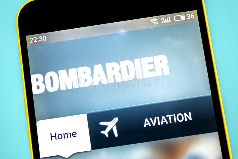 Berdyansk, Ucraina - 23 maggio 2019: Homepage aerospaziale del sito Web del bombardiere Logo del bombardiere visibile sullo scher immagini stock libere da diritti