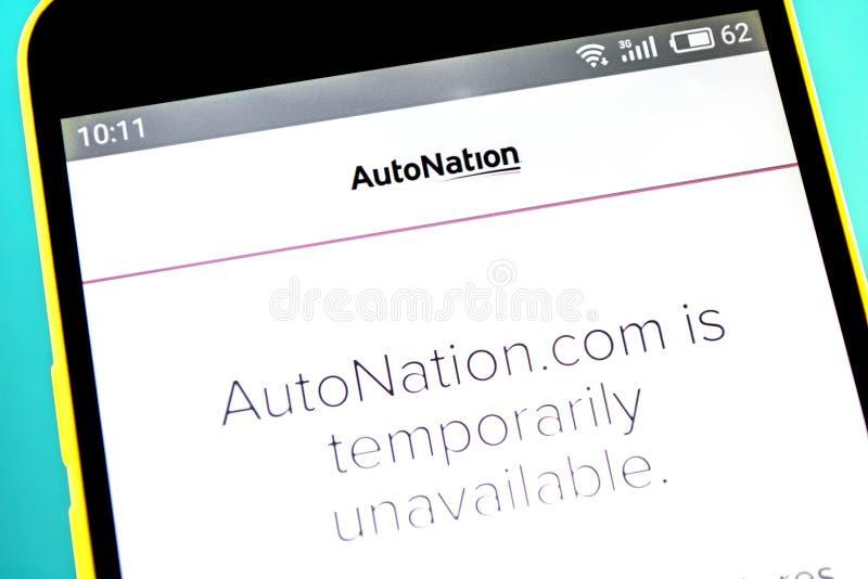 Berdyansk, Ucrania - 18 de abril de 2019: Editorial ilustrativo del homepage de la página web de AutoNation Logotipo de AutoNatio imagenes de archivo