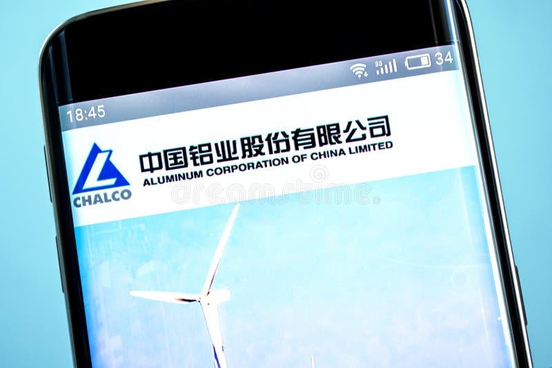 Berdyansk, Ucrania - 6 de junio de 2019: Editorial ilustrativo de Aluminum Corporation del homepage de la página web de China Lim imagen de archivo libre de regalías