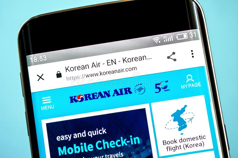 Berdyansk, Ucrania - 6 de junio de 2019: Editorial ilustrativo del homepage de la página web de Korean Air Logotipo de Korean Air imagenes de archivo