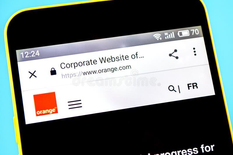 Berdyansk, Ucrania - 14 de mayo de 2019: Editorial ilustrativo del homepage anaranjado de la página web Logotipo anaranjado visib fotos de archivo libres de regalías
