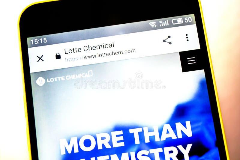 Berdyansk, Ucrania - 5 de mayo de 2019: Editorial ilustrativo del homepage de la página web de Lotte Chemical Logotipo de Lotte C imagenes de archivo