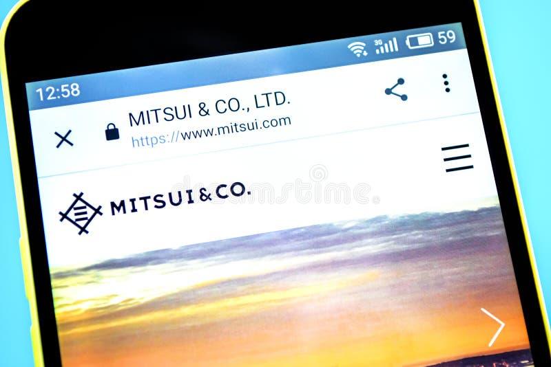 Berdyansk, Ucrania - 14 de mayo de 2019: Editorial ilustrativo del homepage de la página web de Mitsui Logotipo de Mitsui visible fotografía de archivo libre de regalías