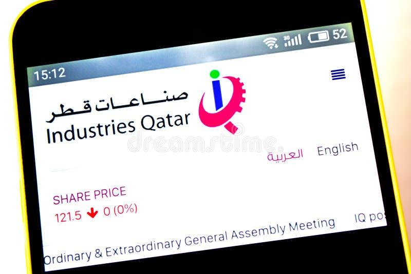Berdyansk, Ucrania - 5 de mayo de 2019: Editorial ilustrativo del homepage de la página web de Qatar de las industrias Logotipo d fotografía de archivo libre de regalías