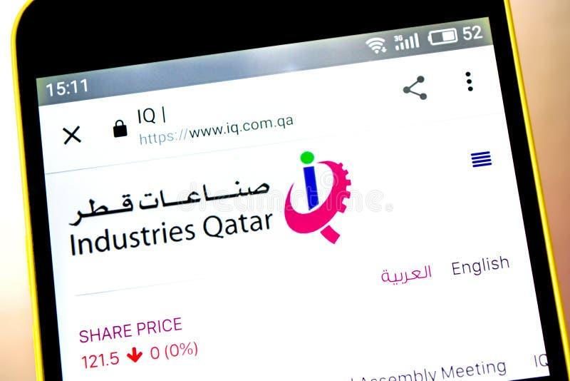 Berdyansk, Ucrania - 5 de mayo de 2019: Editorial ilustrativo del homepage de la página web de Qatar de las industrias Logotipo d fotos de archivo libres de regalías