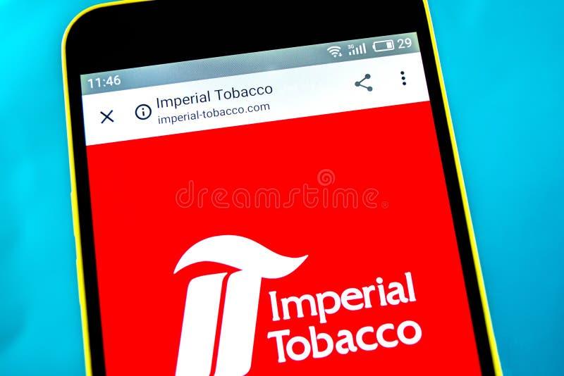 Berdyansk, Ucrania - 10 de mayo de 2019: Editorial ilustrativo del homepage de la p?gina web del grupo de Imperial Tobacco Logoti foto de archivo libre de regalías