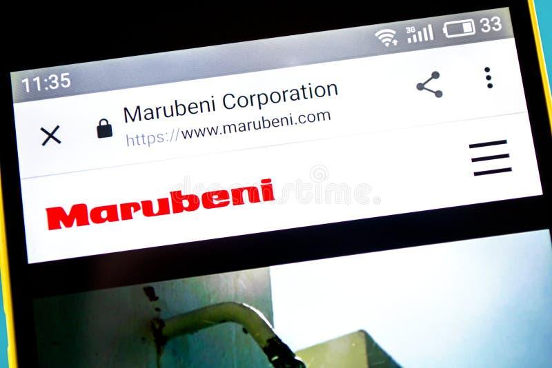 Berdyansk, Ucrania - 10 de mayo de 2019: Editorial ilustrativo del homepage de la p?gina web de Marubeni Logotipo de Marubeni vis imagen de archivo