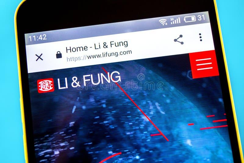 Berdyansk, Ucrania - 10 de mayo de 2019: Editorial ilustrativo homepage de la página web de Li y de Fung Logotipo de Li y de Fung fotos de archivo libres de regalías