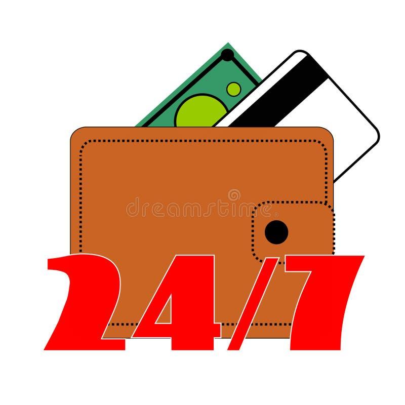 Berdyansk, Ucrania, 03 22 El monedero 2018 de la cartera de Brown con el botón, cobra el verde, una nota, tarjeta de banco de cré stock de ilustración