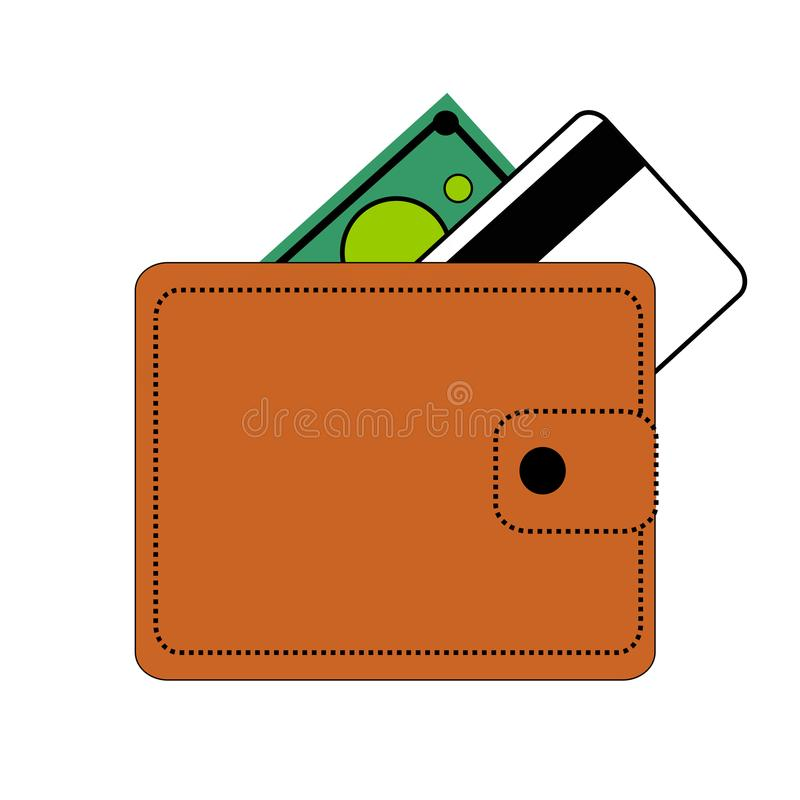 Berdyansk, Ucrania, 03/22/2018 monedero de la cartera de Brown con el botón, cobra el verde, tarjeta de crédito, banco, blanco en ilustración del vector