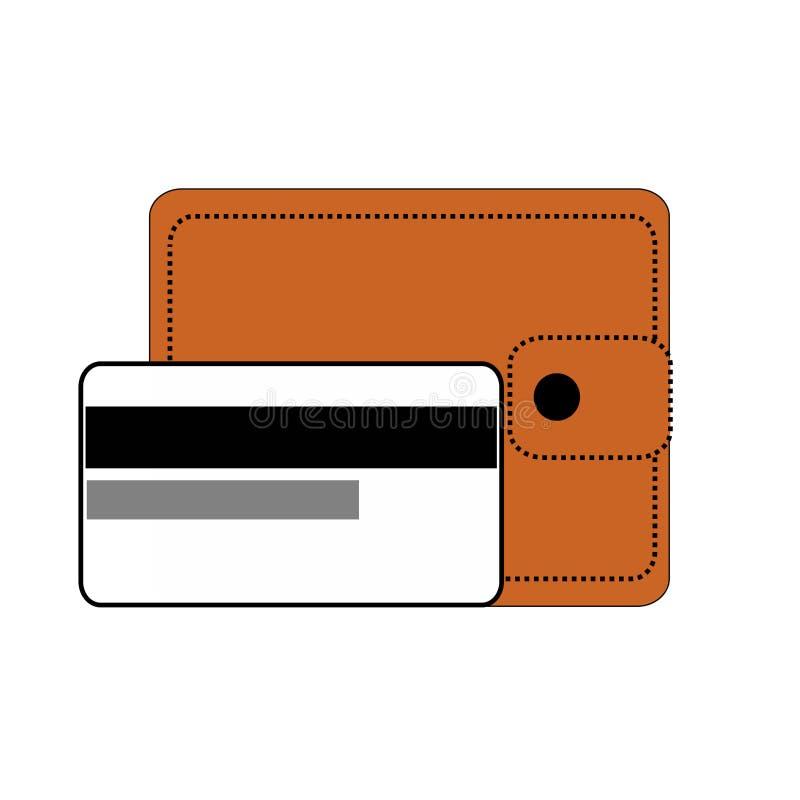 Berdyansk, Ucrania, 03/22/2018 monedero de la cartera de Brown con el botón, una tarjeta de crédito, dorso del blanco, tarjeta de ilustración del vector