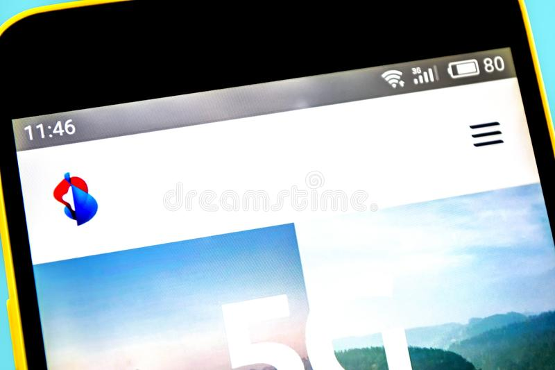 Berdyansk, Ukraina - 14 2019 Maj: Illustrative artykuł wstępny Swisscom strony internetowej homepage Swisscom logo widoczny na te obrazy royalty free