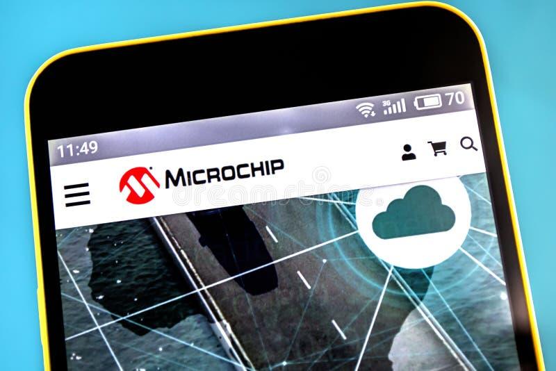 Berdyansk, Ukraine - April 25, 2019: Illustrative Editorial of Microchip Technology website homepage. Microchip Technology logo royalty free stock photography