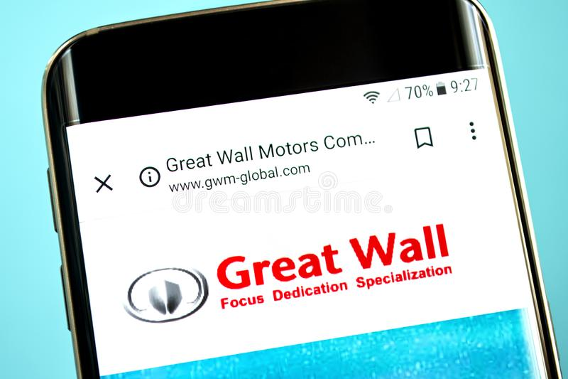 Berdyansk, Ukraine - 30 mai 2019 : Page d'accueil de site Web de moteur de Grande Muraille Logo de moteur de Grande Muraille évid image stock