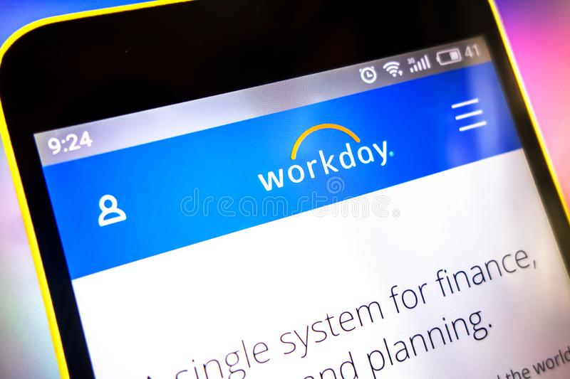 Workday logo on smartphone editorial stock photo  Image of