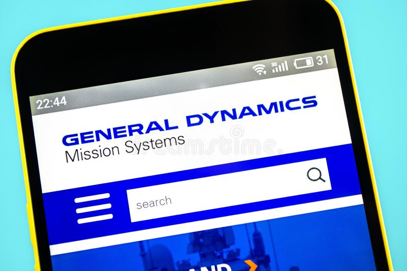 Berdyansk, Ukraine - 24 May 2019: General Dynamics aerospace website homepage. General Dynamics logo visible on the phone screen.  stock image