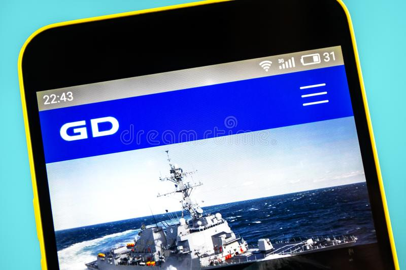 Berdyansk, Ukraine - 24 May 2019: General Dynamics aerospace website homepage. General Dynamics logo visible on the phone screen.  stock photos