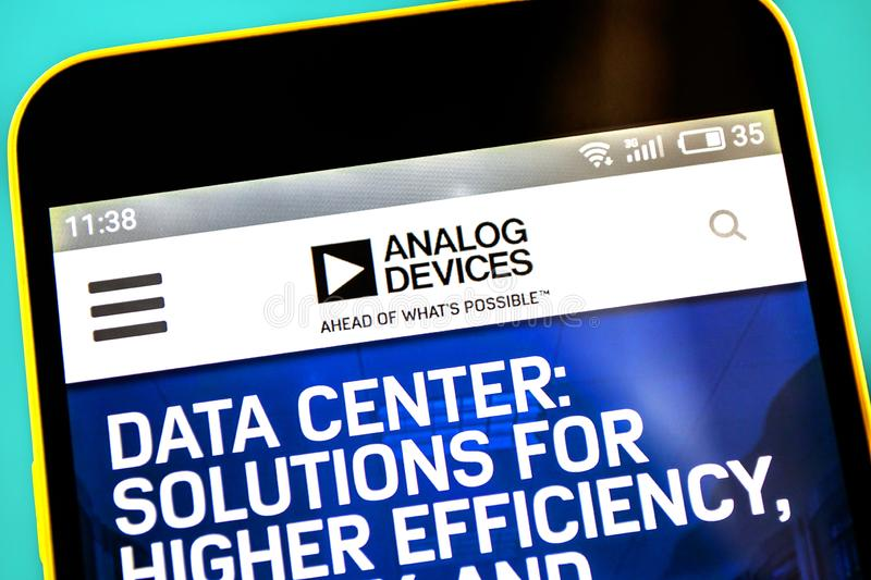 Berdyansk, Ukraine - 3 May 2019: Illustrative Editorial of Analog Devices website homepage. Analog Devices logo visible on the. Phone screen stock images