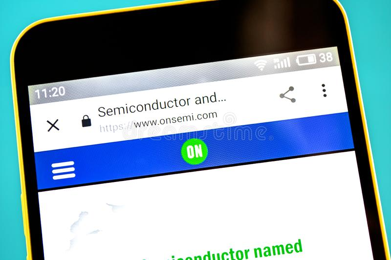 Berdyansk, Ukraine - 3 May 2019: Illustrative Editorial of ON Semiconductor Corp website homepage. ON Semiconductor Corp logo. Visible on the phone screen stock photo