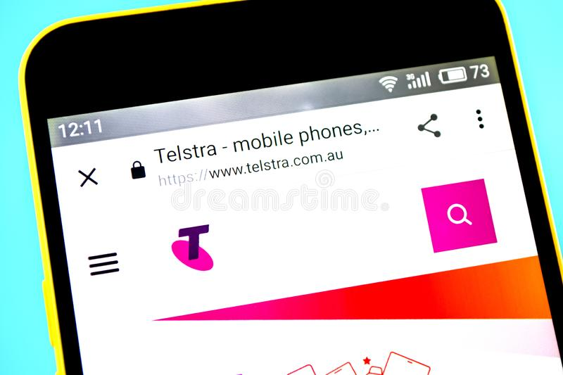 Berdyansk, Ukraine - 14 May 2019: Illustrative Editorial of Telstra website homepage. Telstra logo visible on the phone screen royalty free stock images