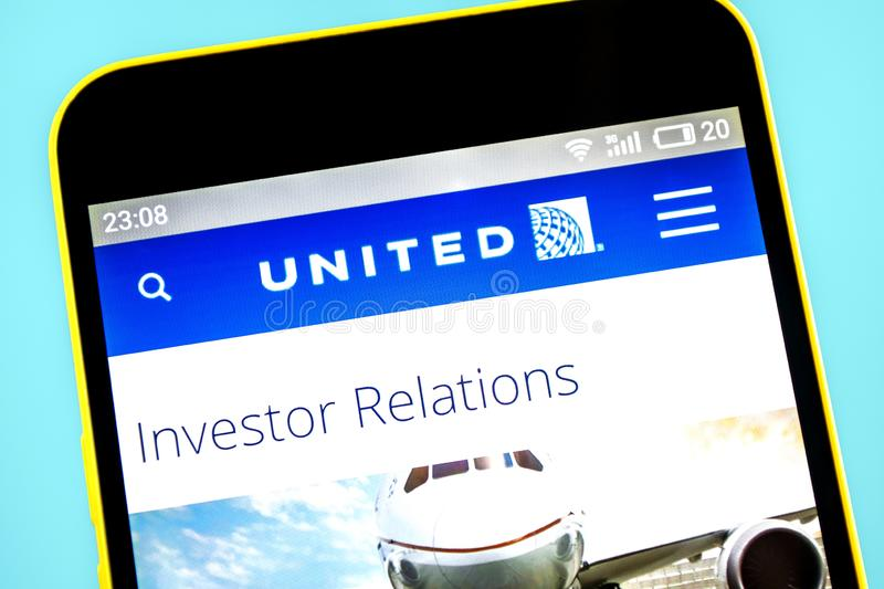 Berdyansk, Ukraine - 24 May 2019: United Continental Holdings airline website homepage. United Continental Holdings logo visible. On the phone screen royalty free stock images