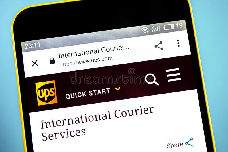 Berdyansk, Ukraine - 24 May 2019: United Parcel Service courier website homepage. UPS logo visible on the phone screen royalty free stock images