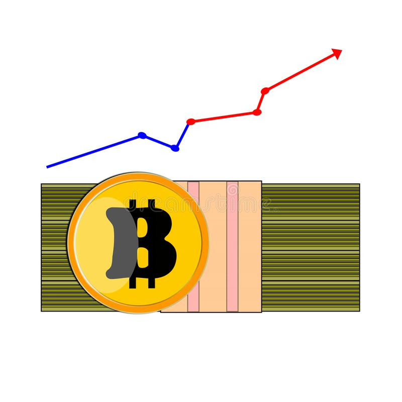 A pack of cash dollar bills, ahead of a yellow coin Bitcoin and a chart scale chart growth royalty free illustration