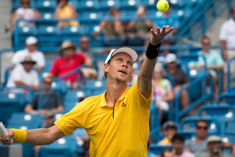 Berdych 231. Mason, Ohio – August 15, 2017: Tomas Berdych in a first round match at the Western and Southern Open tennis tournament in Mason, Ohio, on stock photo