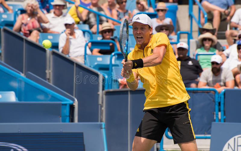 Berdych 234. Mason, Ohio – August 15, 2017: Tomas Berdych in a first round match at the Western and Southern Open tennis tournament in Mason, Ohio, on royalty free stock image