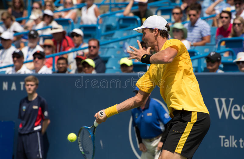Berdych 232. Mason, Ohio – August 15, 2017: Tomas Berdych in a first round match at the Western and Southern Open tennis tournament in Mason, Ohio, on royalty free stock photography
