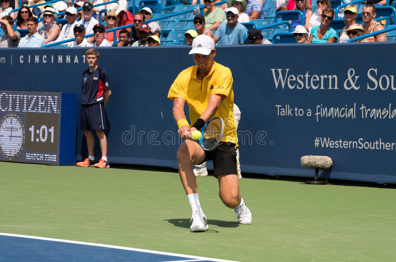 Berdych 233. Mason, Ohio – August 15, 2017: Tomas Berdych in a first round match at the Western and Southern Open tennis tournament in Mason, Ohio, on royalty free stock image