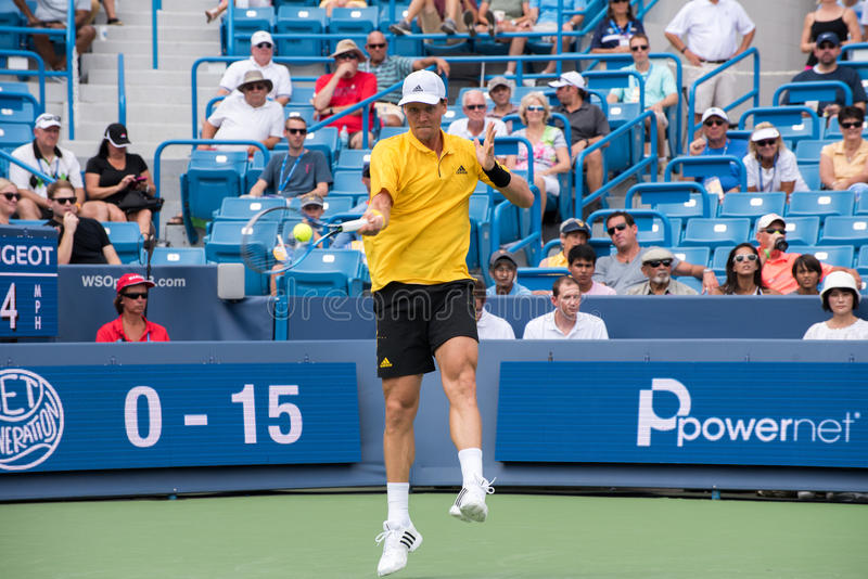 Berdych 235. Mason, Ohio – August 15, 2017: Tomas Berdych in a first round match at the Western and Southern Open tennis tournament in Mason, Ohio, on royalty free stock image