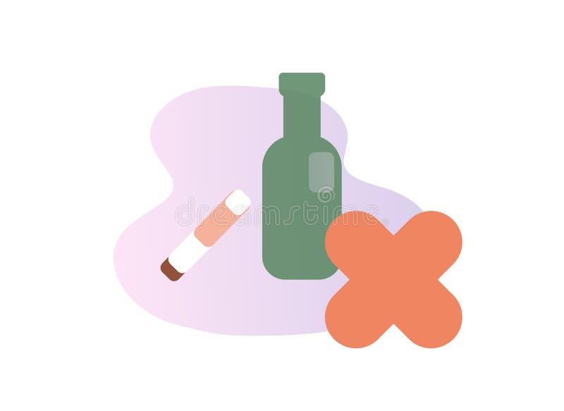 Bere e fumare Icona di cattive abitudini Illustrazione piana di vettore Isolato su priorità bassa bianca illustrazione di stock