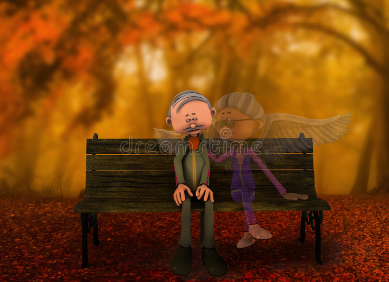 Bereavement guardian angel spirit. Autumn years bereavement concept, sad lonely senior man sitting on bench after his wife has died, not knowing she is still vector illustration