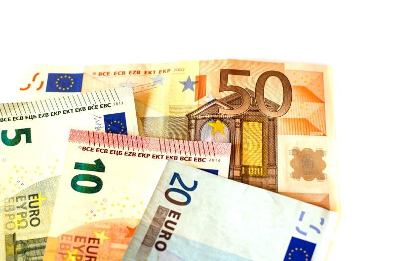 Berechnet Nennwert von fünf Euros EUR 5, zehn Euros EUR 10, zwanzig Euros EUR 20 und fünfzig Euros EUR 50 lizenzfreie stockfotos