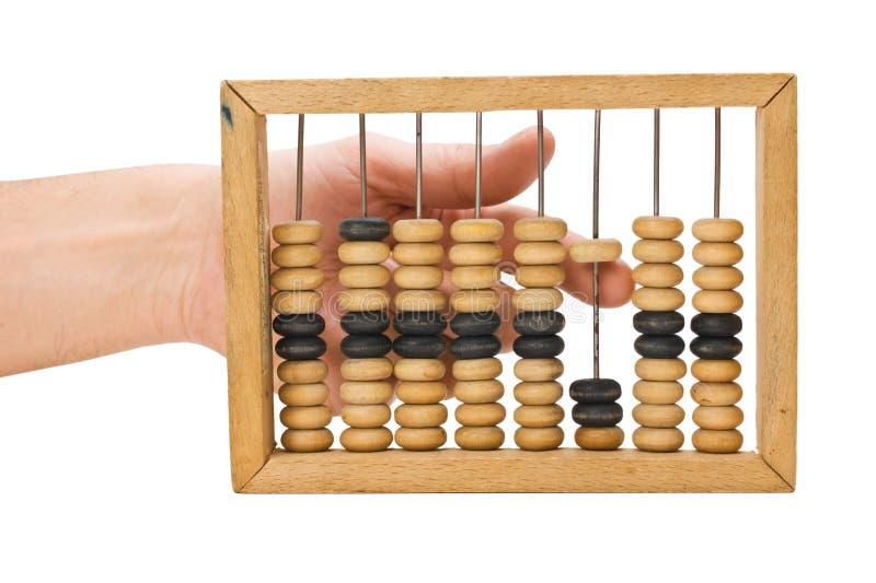 Berechnung auf hölzernen Konten stockfoto