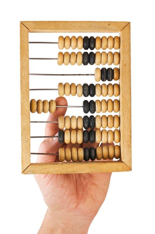 Berechnung auf hölzernen Konten lizenzfreies stockbild
