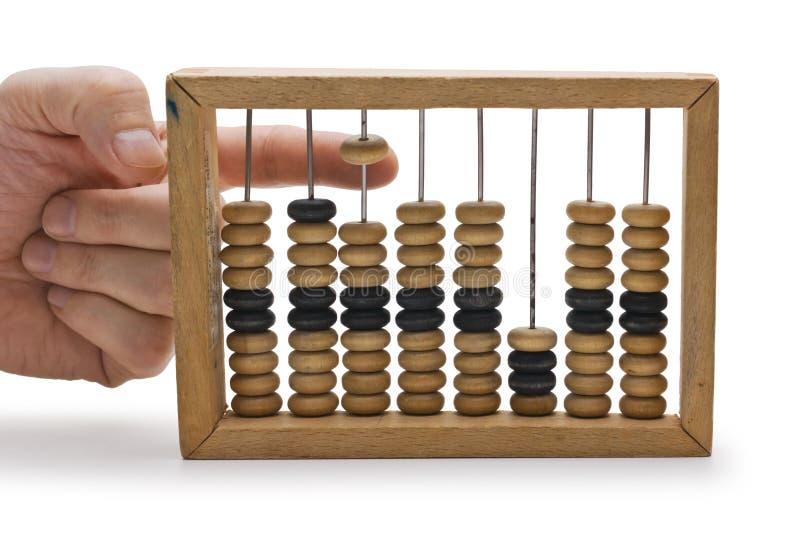 Berechnung auf hölzernen Konten lizenzfreie stockfotografie