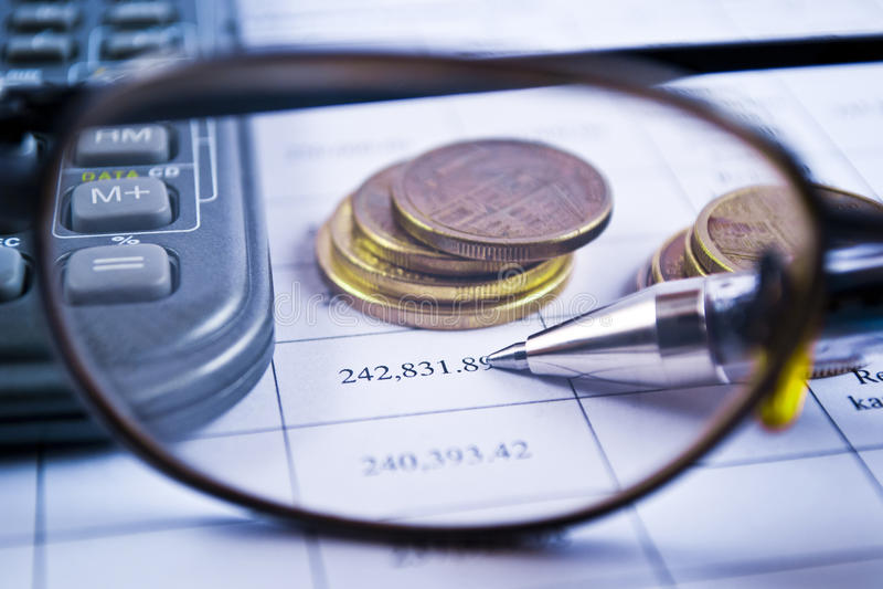 Berechnung der Konten stockfoto