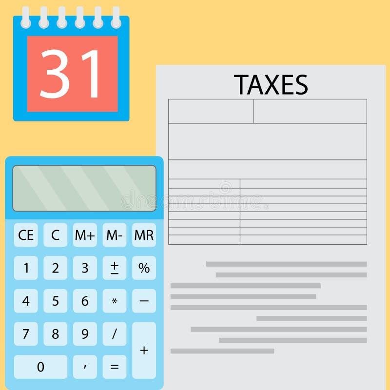 Berechnung der Steuertagesillustration lizenzfreie abbildung