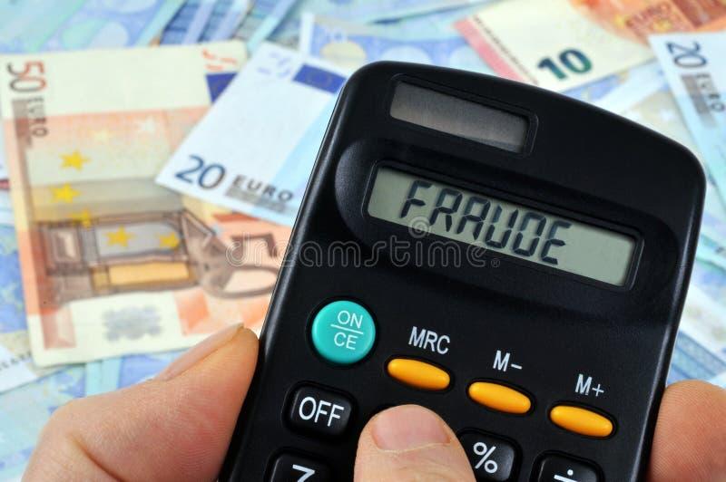 Berechnung des Betrugs auf französisch stockbild