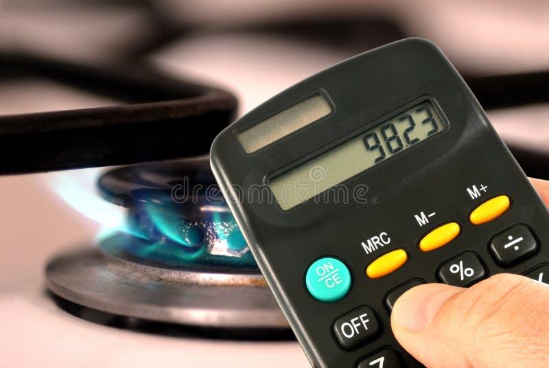 Berechnung von Gasausgaben lizenzfreies stockbild